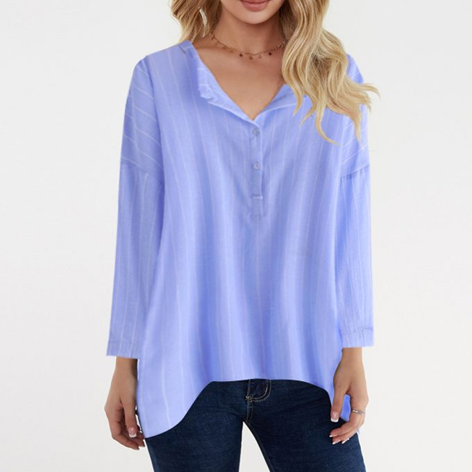 990b1daad03 Women Autumn Striped Long Sleeve Button V Neck T Shirt Casual Blouse Tops  Tees