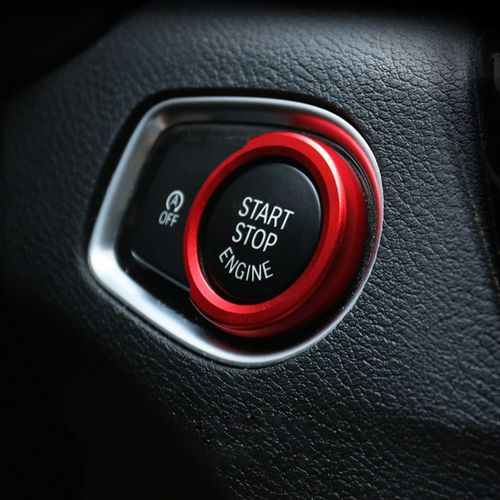 Car Engine Start Key Push Button Ring Trim Aluminum Alloy Sticker  Decoration For BMW (Red)