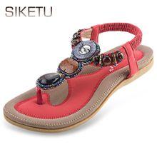 fc68ca8df955ea SIKETU Bohemia Rhinestone Design Slip On Beach Women Flip-flop Sandals