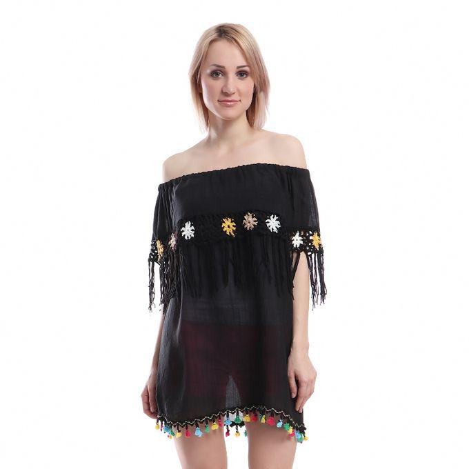 7c8ebd088f50 Sale on Handmade Off Shoulder Blouse - Black (Flower Color May Vary ...