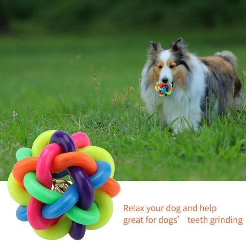 Pet Chew Toys Dogs Colorful Rubber Balls With Bells Biting Toys