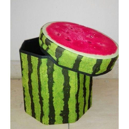 Watermelon Puff Chair & Storage - Red & Green - 45cm