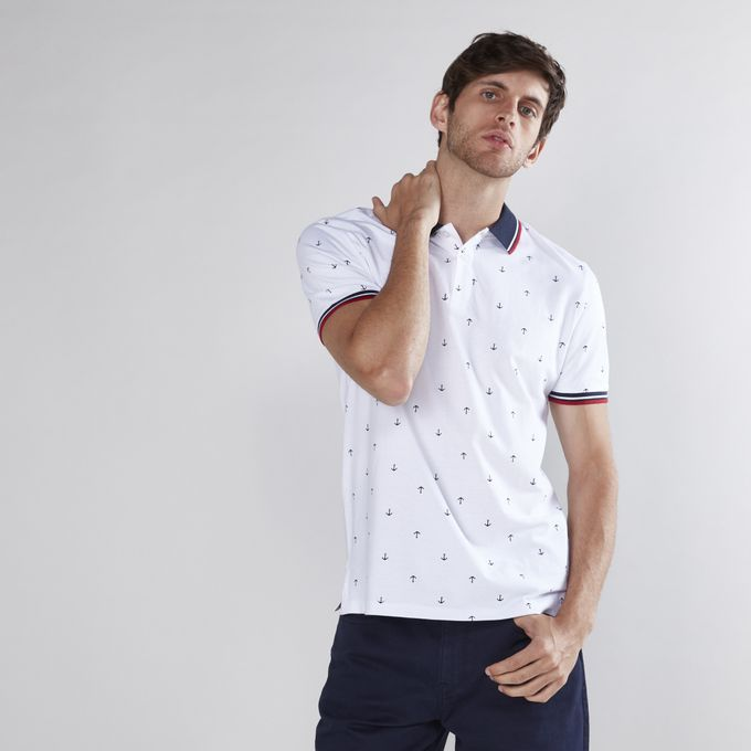 2e71643a Sale on Printed T-Shirt With Polo Neck And Short Sleeves-LIGHT WHITE ...
