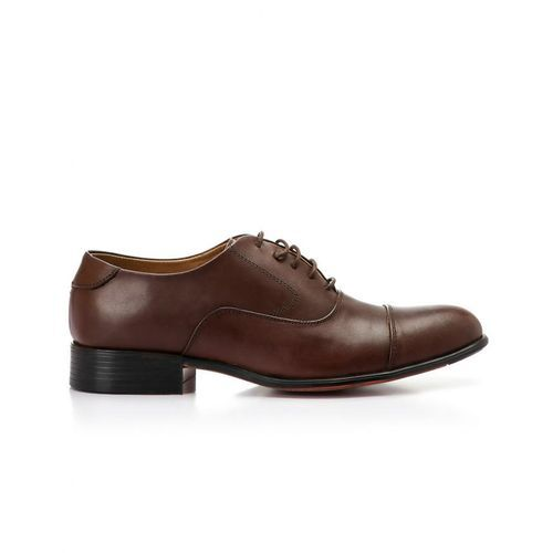 Genuine Leather Classic Decorated Lace Up Shoes -Brown