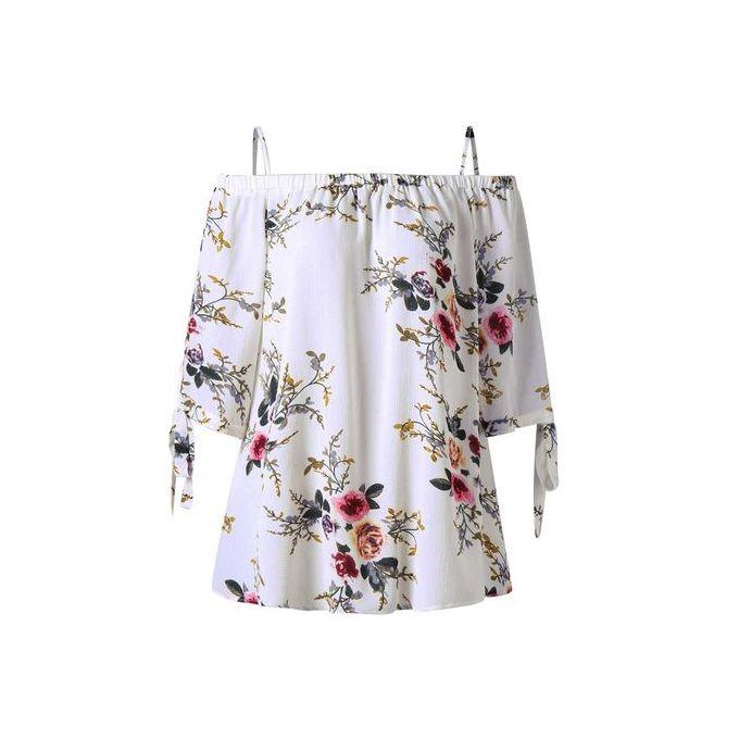 0de783f71997db Duanxinyv Fashion Womens Plus Size Floral Print Cold Shoulder Blouse Casual  Tops Camis
