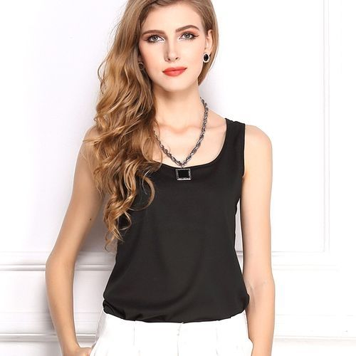 dce322993c1c74 No Brand New Shirt Women Summer Chiffon Tops Black Sleeveless Blouses For  Women Clothes Ruffle Elegant Vintage Feminine Shirts-black