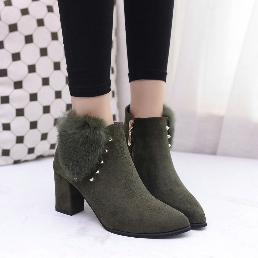 ad005658b878 Eissely Women High Heel Ankle Boots Ladie Buckle Platform Shoes Slope Martin  Boots- Army Green