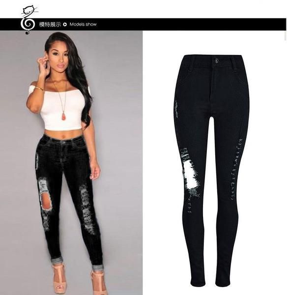 076e5f0c957 Generic Women High Waist Jeans Hole Skinny Ripped Pants High Waist Stretch  Jeans Long Pencil Trousers-black
