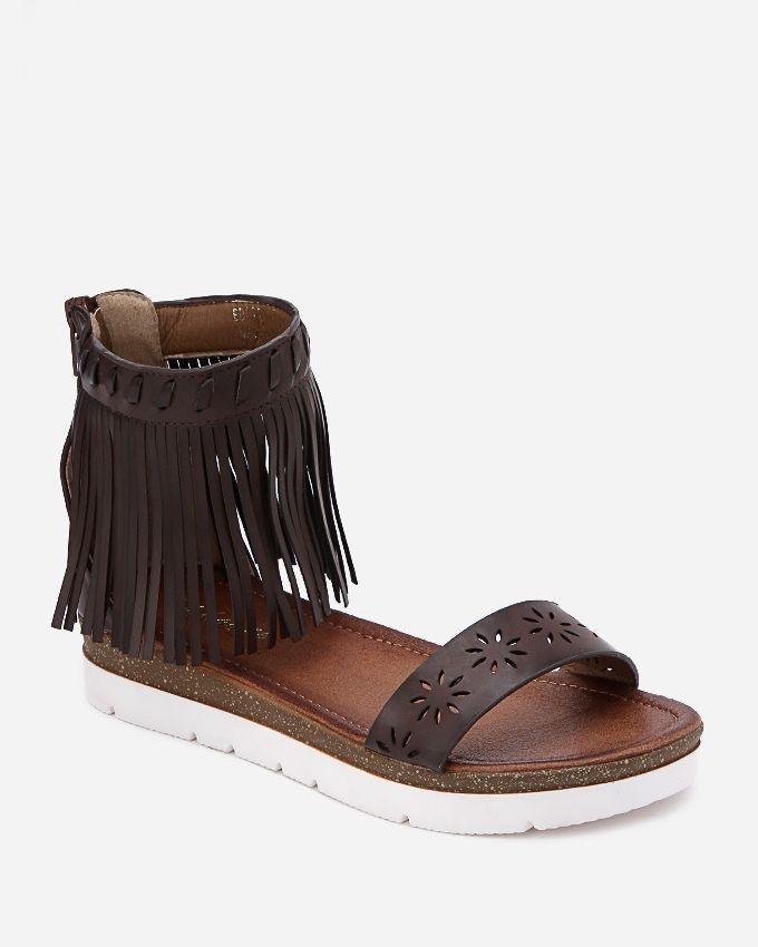 Spring Back Zipper Fringes Sandals - Dark Brown