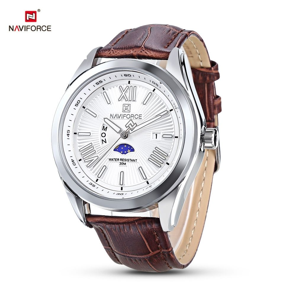 746f106b6 Naviforce 9108 Male Quartz Watch Calendar Moon Phase Luminous Men  Wristwatch (Brown)