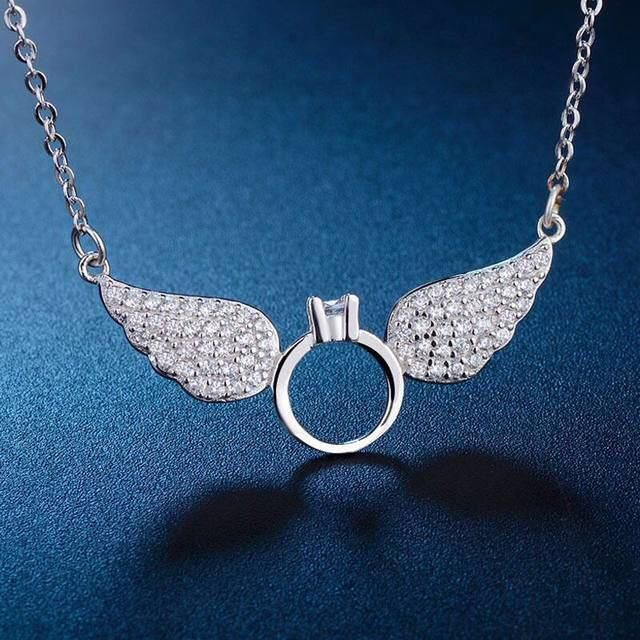 d9331b7db53bc 3Diamonds 3Diamonds Pendant Necklace 18K Platinum Plated With Wings ...