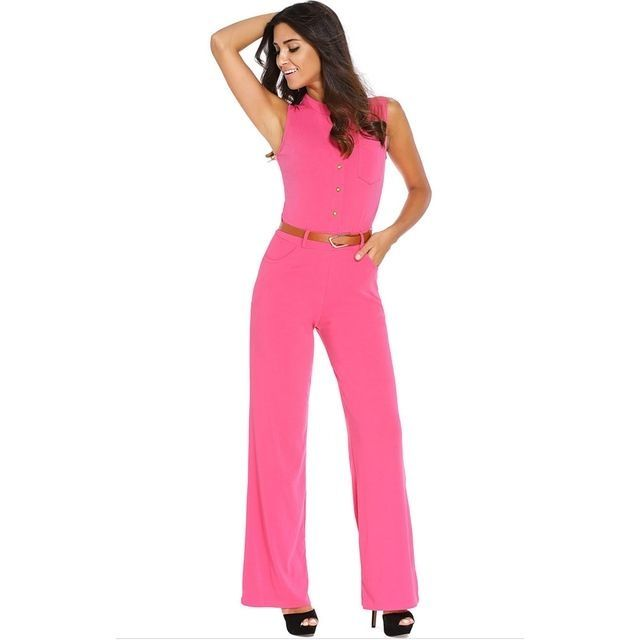b441e6107e1 Generic S-2XL Plus Size Large Casual Belted Wide Leg Full Length Women  Jumpsuit Jumpsuits Rompers -pink nice