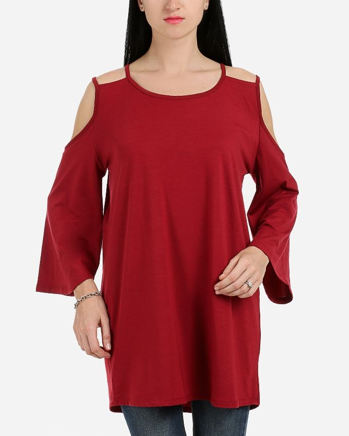 Andora Solid Double Strapless Tunic- Dark Red