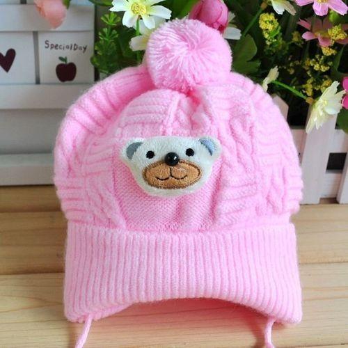 f7b3d67fc7c Fashion Baby Boy Girl Winter Warm Braided Knitted Crochet Cartoon Bear  Beanie Beret Hat Pink