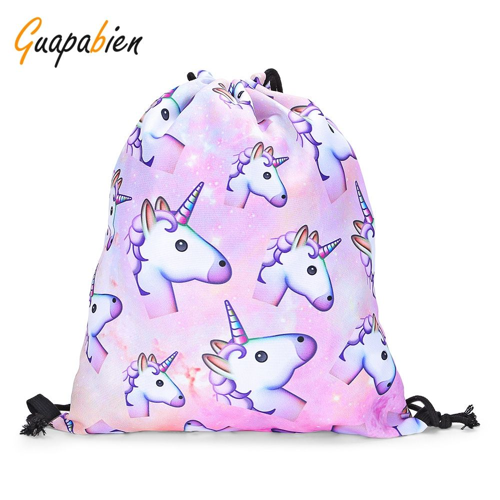 c50b3e1018b9 Guapabien Girls 3D Unicorn Print Drawstring Bag - Light Pink