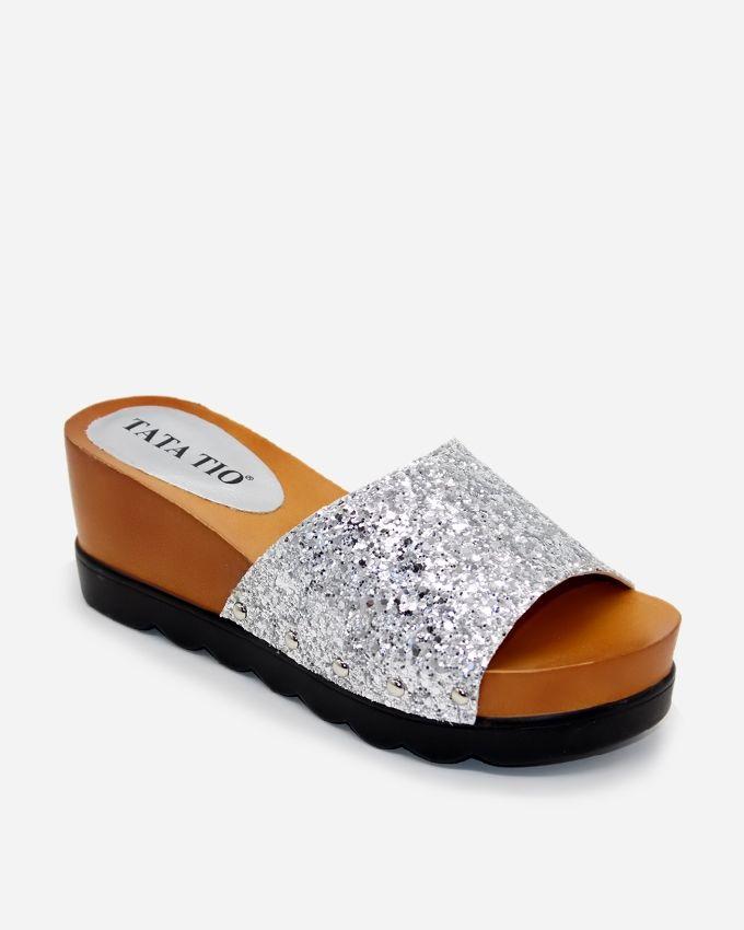 Tata Tio Women Leather Slippers  - Silver