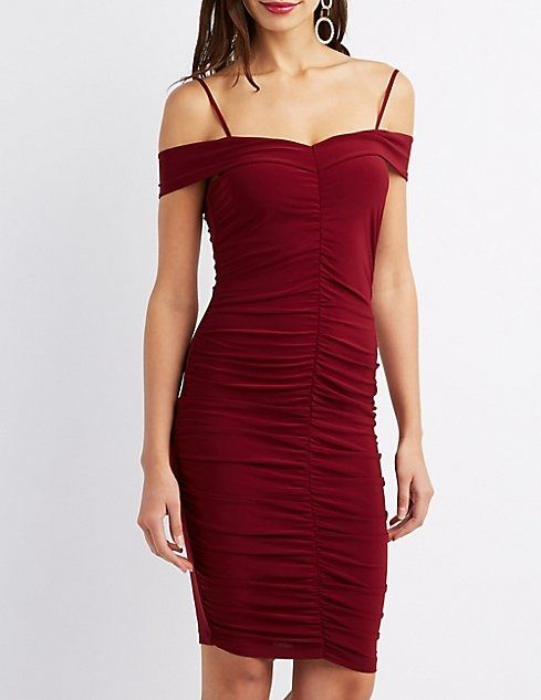 78ab5e444ab Charlotte Russe Ruched Cold Shoulder Bodycon Dress. updating Prices