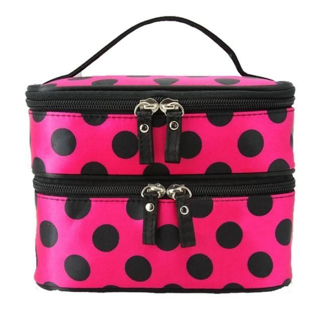 Neworldline Double Layer Cosmetic Bag Travel Toiletry Makeup Bag Hot-Hot Pink