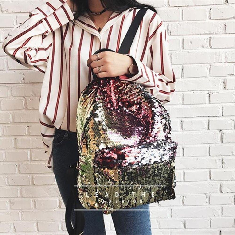 b90426eac15f Buy Fashion Women Girls Sequins Glitter Bling Backpack School Travel  Rucksack Shoulder Bag Gold in Egypt