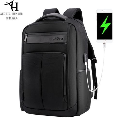 5e94b788cfe13 Generic Business Men s Notebook Computer Backpack USB Rechargeable  Waterproof Polyester Backpack-Black