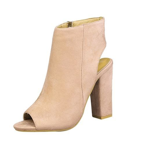 715fbb62b6d Fashion Bliccol High Heel Shoes Women Fashion Suede Solid Color Peep Toe  Wedges High Heeled Shoes Sandals Beige-Beige