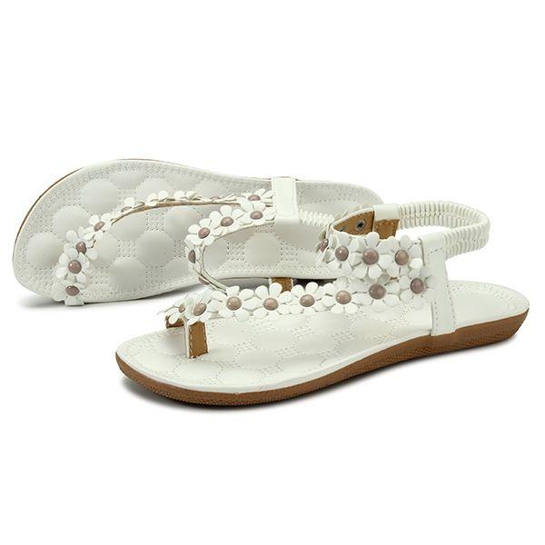 77a821d856098e Buy Fashion Fashion Summer Womens Bohemia Floral Sandals Flat Shoes Strappy Beach  Flip Flops - Intl
