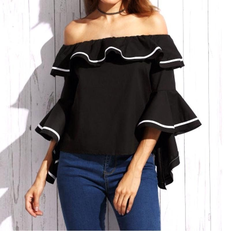 39052ed5b73 Fashion Women Blouses Sexy Butterfly Sleeve Slash Neck Off Shoulder ...