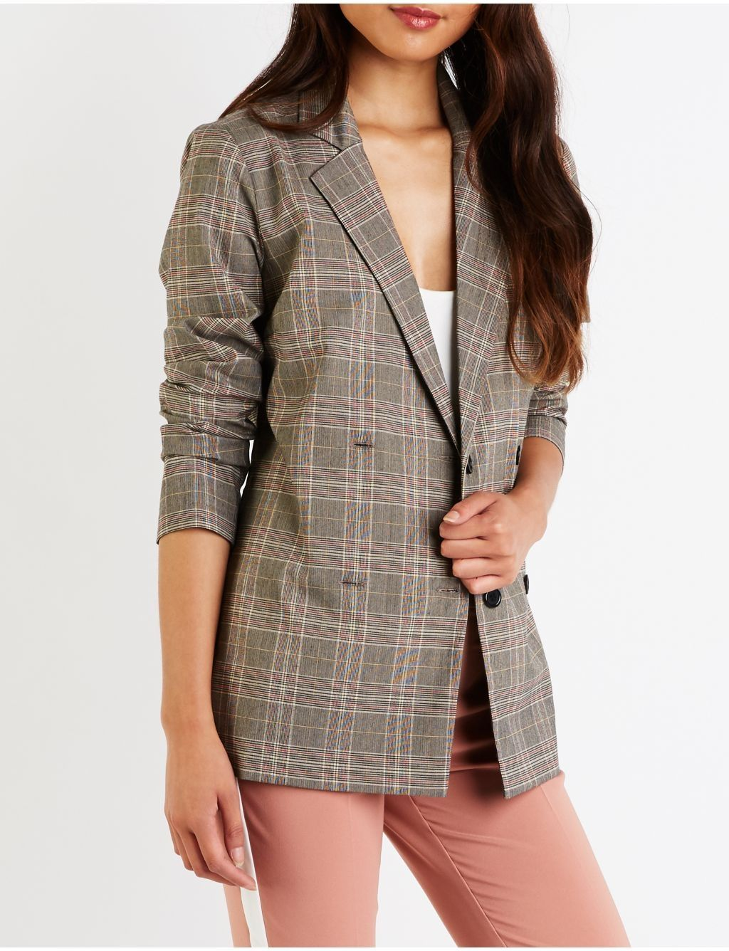 64f98dad35f Buy Charlotte Russe Plaid Double Breasted Blazer in Egypt