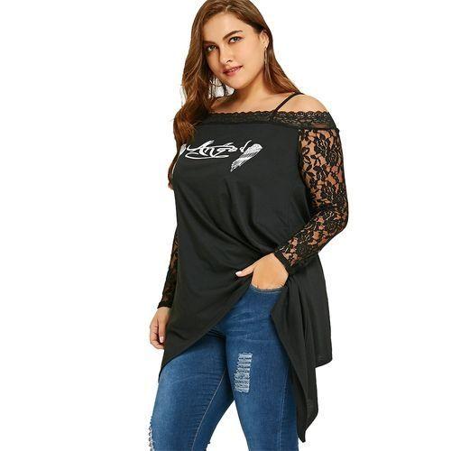 51f1c5d7f061ff Nextmia Women Plus Size Lace Trim Wings Print Tunic Top - Black ...