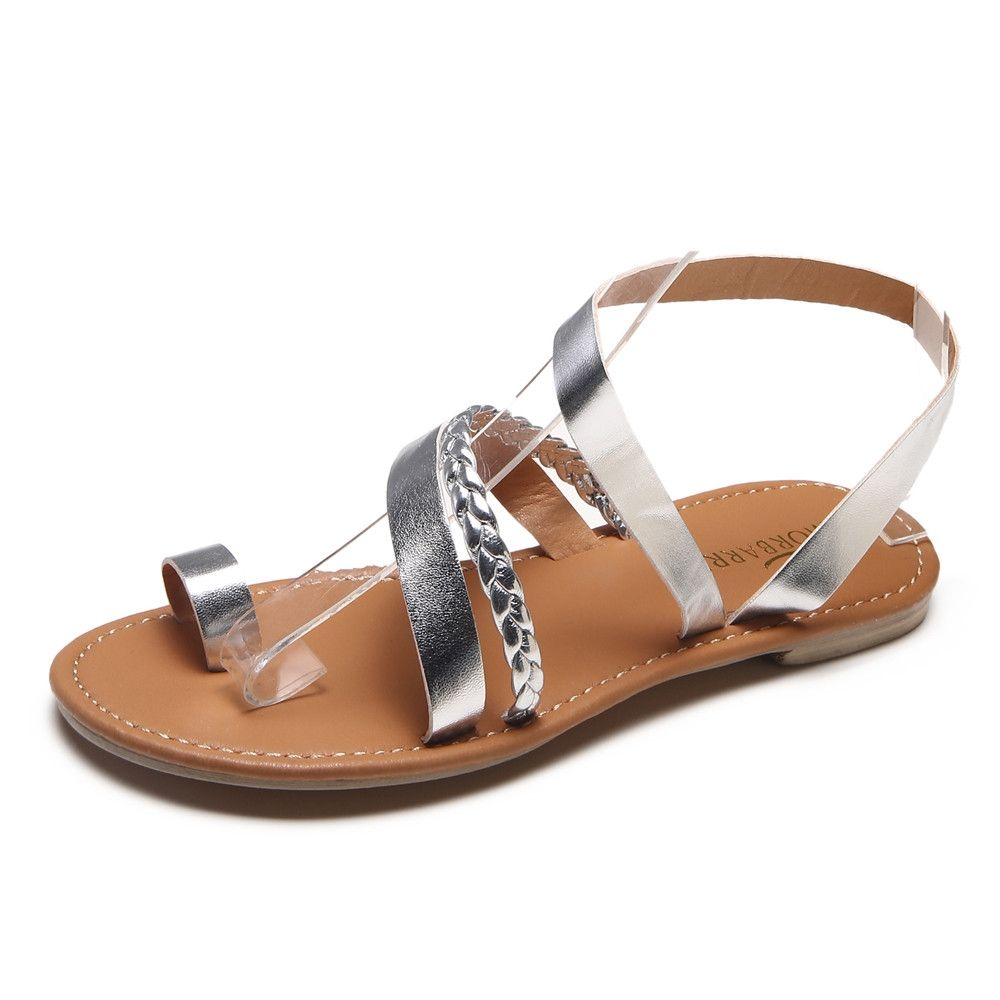 eb0a5fbb412 Fashion Blicool Shop Women Sandals Women Summer Strappy Gladiator Low Flat  Heel Flip Flops Beach Sandals Shoes-Silver