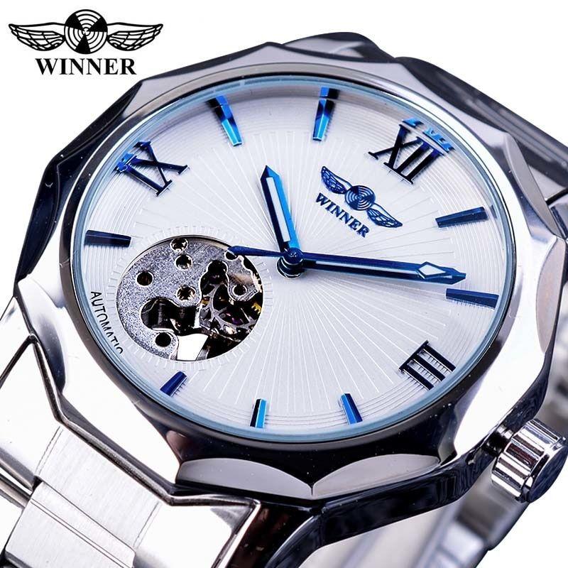 Winner Winner Blue Ocean Geometry Design Transparent Skeleton Dial Mens Watch Top Brand Luxury Automatic Fashion Mechanical Watch Clock