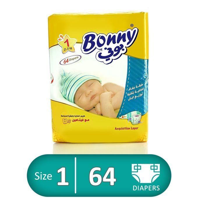 02f0341527ff Bonny NewBorn Diapers - Size 1 - Jumbo Pack - 64 Pcs