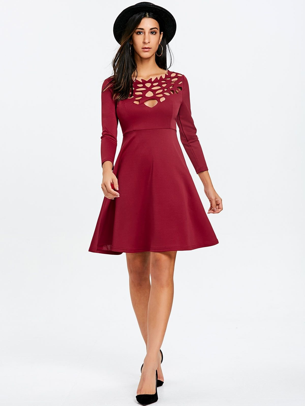 DRESSFO Cut Out Mini Party Skater Dress - WINE RED  0f715c3de