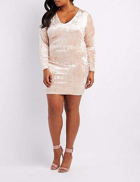 a1f176d0fc5 Charlotte Russe Plus Size Crushed Velvet V-Neck Bodycon Dress ...