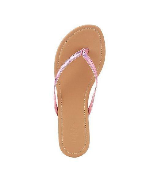 a430358eb10f Charlotte Russe Hologram Strappy Flip Flop Sandals