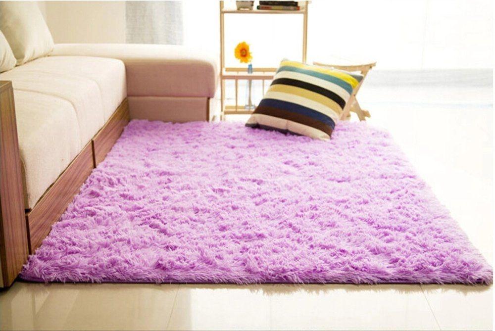 Universal Shaggy Anti-skid Carpets Rugs Floor Mat/Cover 80x120cm Purple
