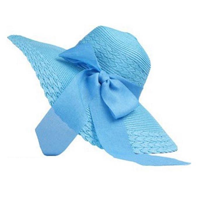 7c1f1f74ef8 Eissely Women Folding Summer Sun Floppy Hat Straw Beach Wide Large Brim Cap  Blue