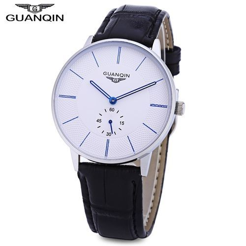d6bbdc908 Guanqin BJ001 Male Quartz Watch Working Sub-dial 10ATM Genuine Leather  Strap Wristwatch-BLUE AND WHITE