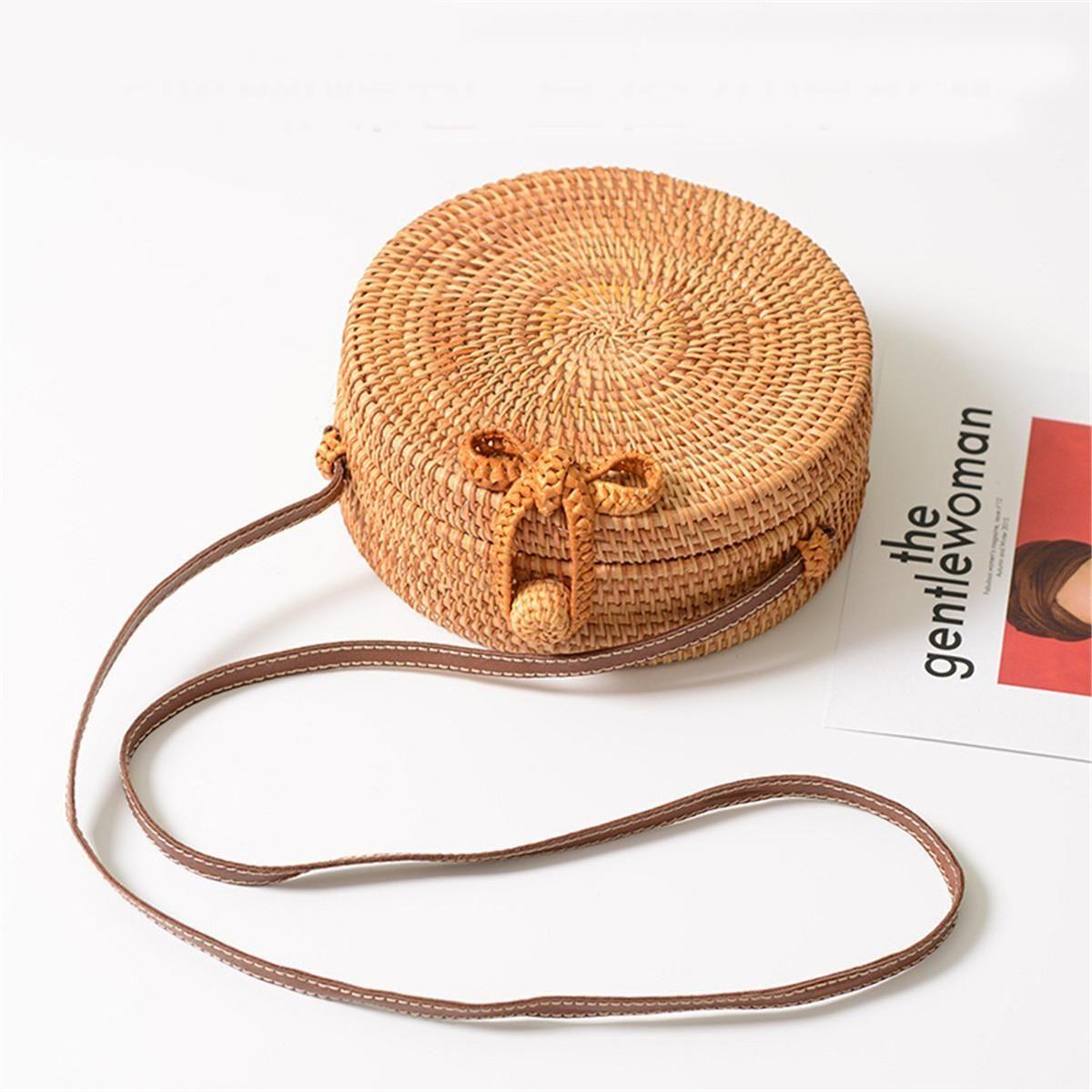 Buy Generic Straw Handbag Rattan Handmade Woven Round Summer Beach Knitted  Bag Bohemia Gift in Egypt 80ce7626659a2