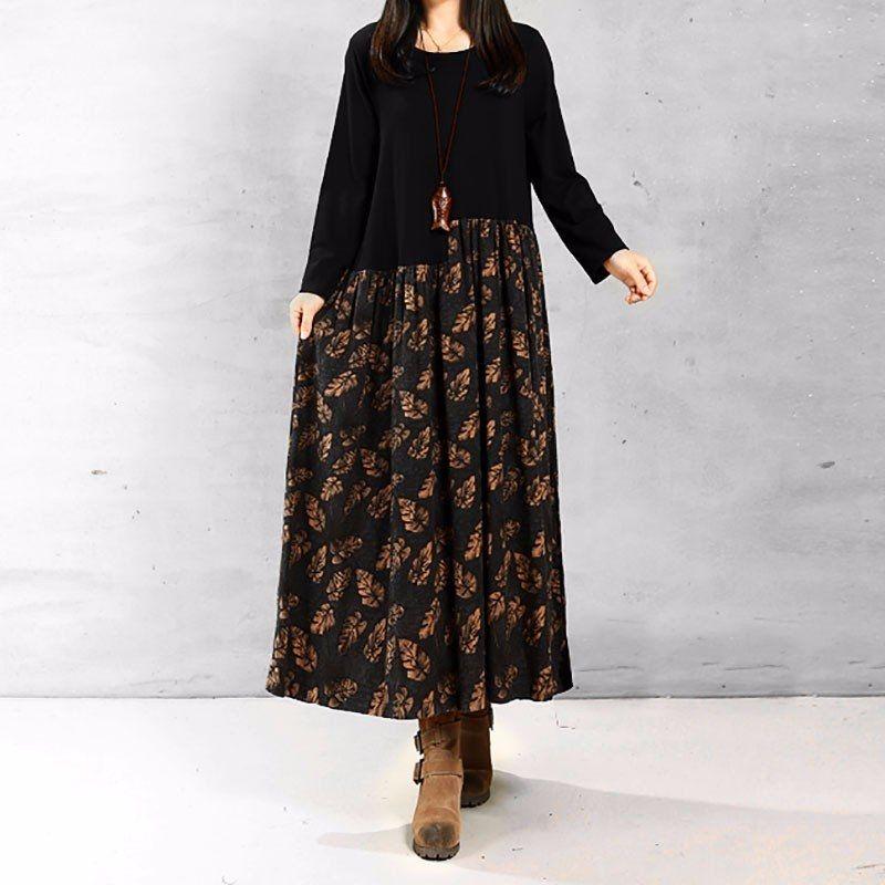 54a075c802 ZANZEA ZANZEA Autumn Women Vintage Casual Loose Long Sleeve Floral Print  Cotton Linen Maxi Long Dress Vestidos Plus Size S-5XL (Green Leaf)