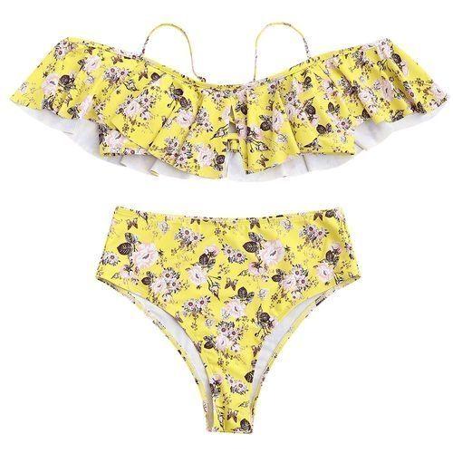 Zaful Women High Waisted Bikini Set - Yellow  a99f22f23