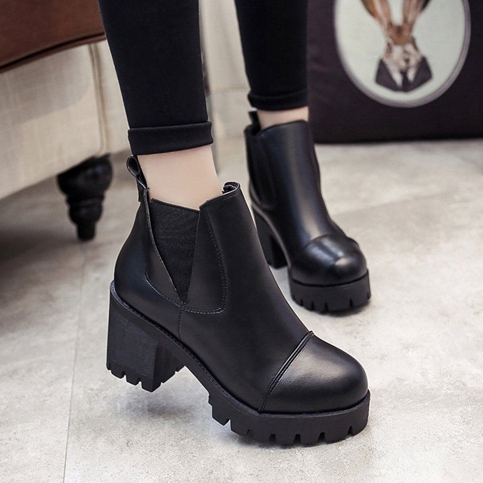 bc9e4877b66 Kokobuy Women Ankle Boots Thick Sole Flat Heel Martin Boots Fashion Ladies  Boots
