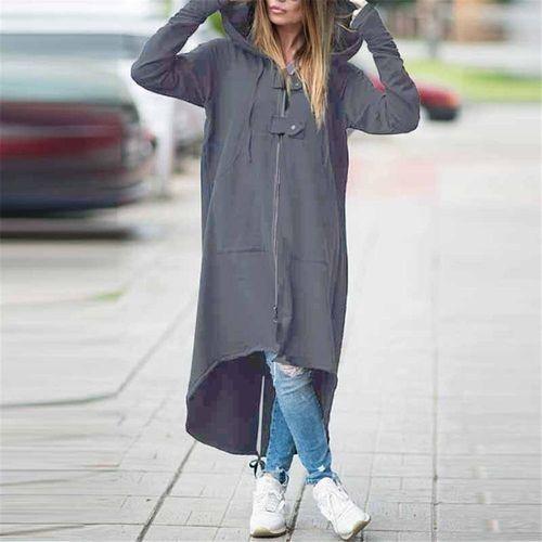 e65f3278a ZANZEA ZANZEA Hooded Jacket Long Sleeve Zipper Drawstring Asymmetric ...