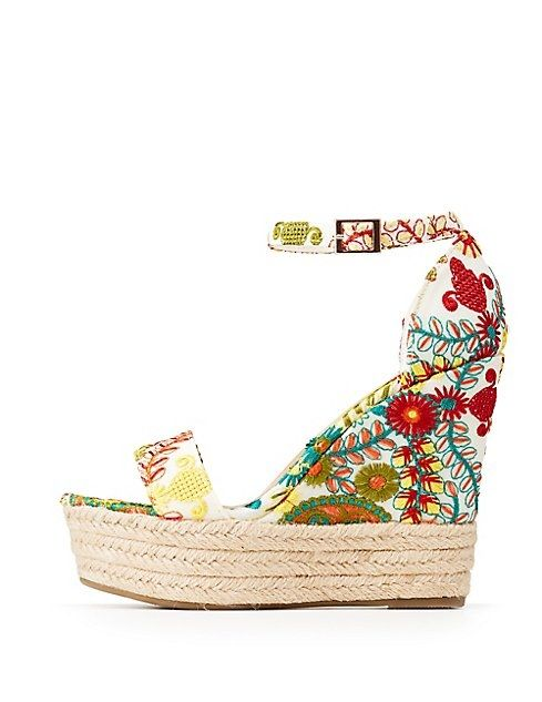 54590679cf4 Charlotte Russe Bamboo Floral Espadrille Wedge Sandals