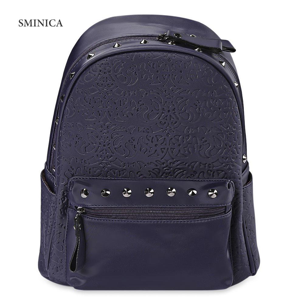 287bbfceff1b2 Generic Leadsmart SMINICA Chic Rivet Embellished PU Leather Women Backpack