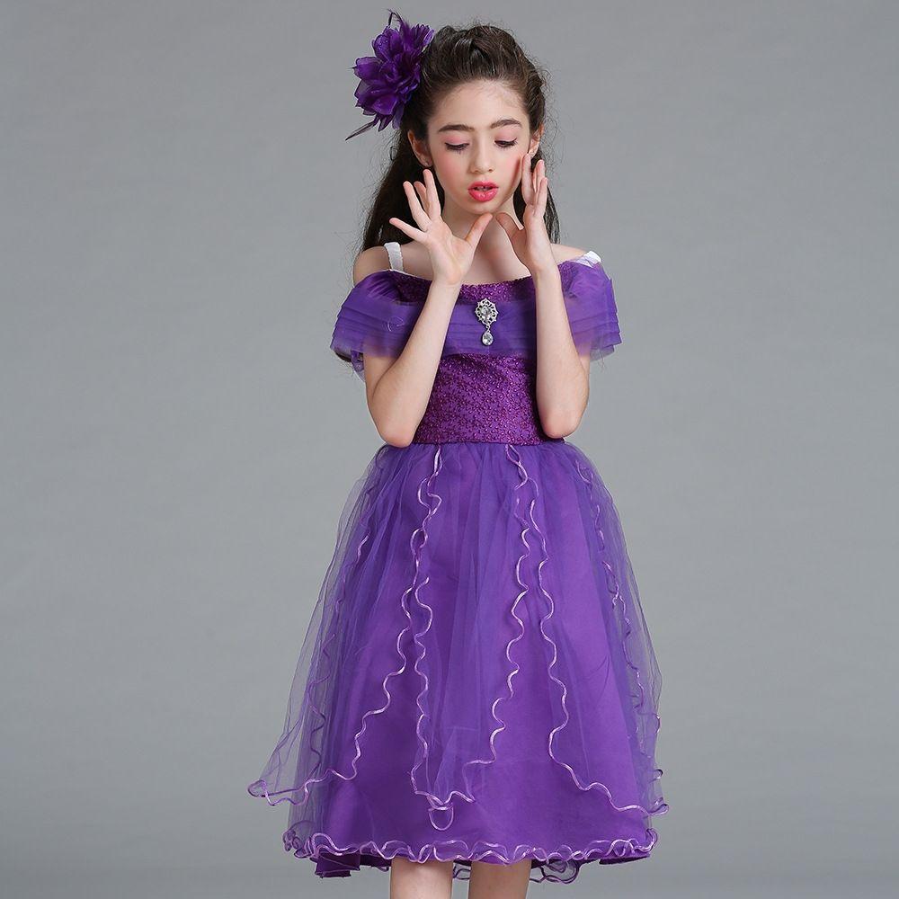 7d1d54905af7 Generic Lace Princess Dress Flower Girl s Dress Girl s Waist Costume ...