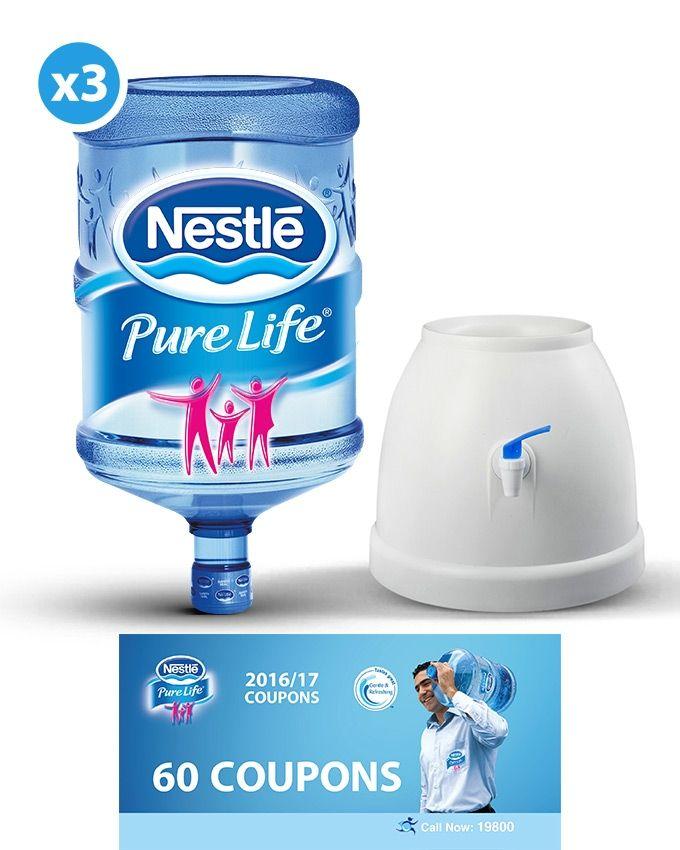 6edc45f44b Nestlé Pure Life 3 Empty 18.9L Bottles + 60 Refill Coupons + Plastic ...