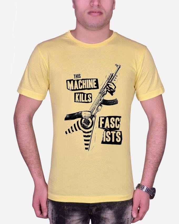 Marley Round Neck  Machine T-shirt – yellow