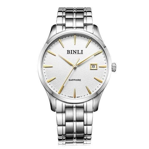 fb23ca431 Louis Will Binli Watch Dial Men's Fashion Business Strip Quartz Watch  Waterproof Stainless Steel Mens Trend 8036 (White)