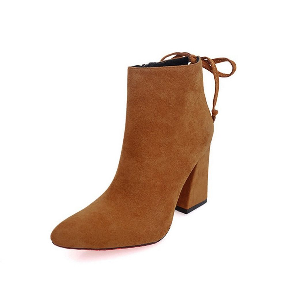 da30bfddd Eissely Short Cylinder Boots Stylish High Heel Ankle Boots Abkle Knot  Winter Shoes YE/35-Yellow